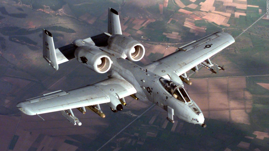 "The A-10 Thunderbolt jets, nicknamed ""Warthogs,"" are specially designed for close air support of ground forces. Key to their armaments is a 30mm Gatling gun. The pilot is protected from ground fire by titanium armor, and the plane's fuel cells are self-sealing in case of puncture."