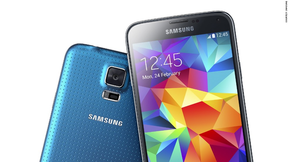 "The Samsung Galaxy S5, with heart rate monitor and some<a href=""http://money.cnn.com/2014/02/24/technology/mobile/samsung-galaxy-5-hands-on/""> new, high-spec features</a>."