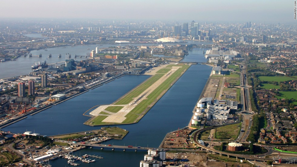 Views of Westminster, the London Eye, Tower Bridge, and St. Pauls are possible as you approach this single-runway airport by the Thames.