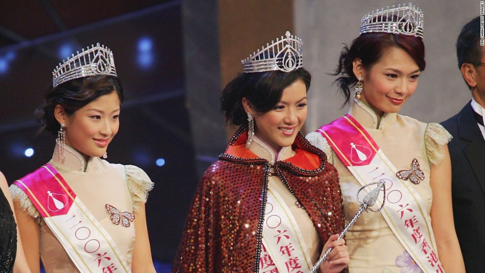 Per tradition, Miss Hong Kong candidates wear cheongsam during the award ceremony, as shown here by the winner and runners-up in 2006.