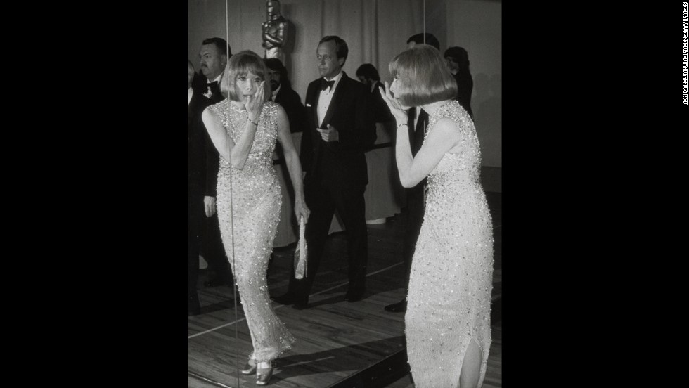 "Shirley MacLaine's pristine sparkling column gown was originally designed for her in the 1964 comedy ""What A Way to Go."" Considering that the dress <a href=""http://www.hollywoodreporter.com/news/shirley-maclaine-oscars-edith-head-warren-beatty-spaceship-293556"" target=""_blank"">took 78 fittings to get right</a>, we don't blame MacLaine for dusting it off for the 1974 Oscars."