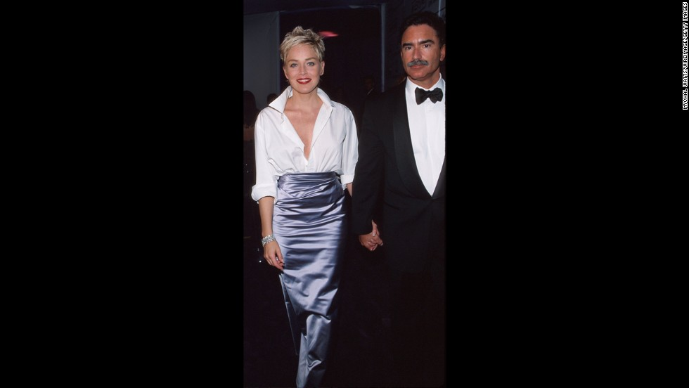 The beauty of Sharon Stone's 1998 Oscars outfit was its mix of the high and low: The actress took a white Gap button-down shirt out of then-husband Phil Bronstein's closet and paired it with a luxurious Vera Wang skirt.