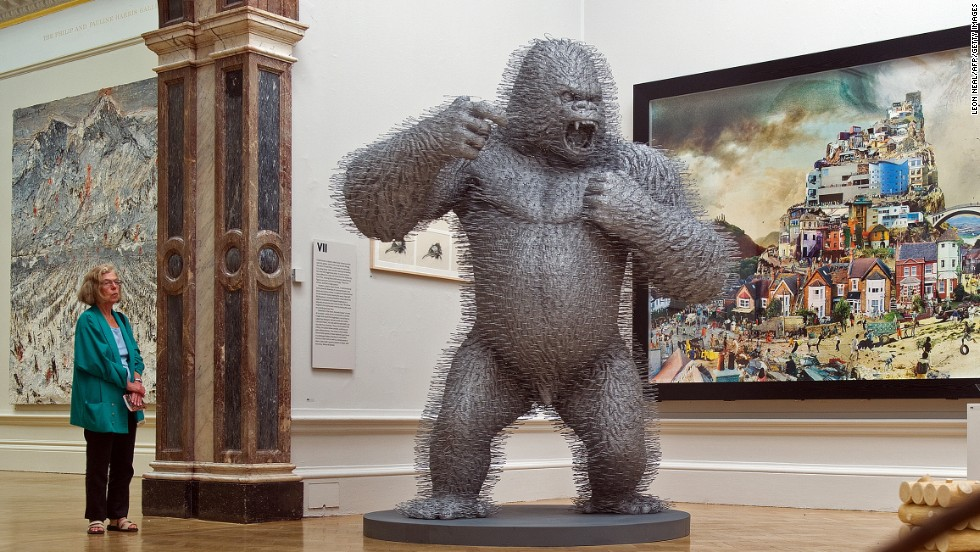 "Continuing that creative vein is ""Silver Streak,"" a giant-sized gorilla -- also made from 3,000 coat hangers -- housed in a museum in Glasgow."