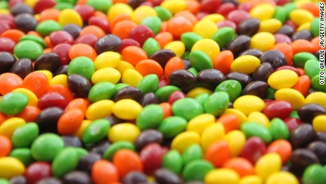 A closeup of a bowl of Skittles which are kept on the sidelines for running back Marshawn Lynch #24 of the Seattle Seahawks during the game against the San Francisco 49ers at CenturyLink Field on December 24, 2011 in Seattle, Washington. (Photo by Otto Greule Jr/Getty Images)