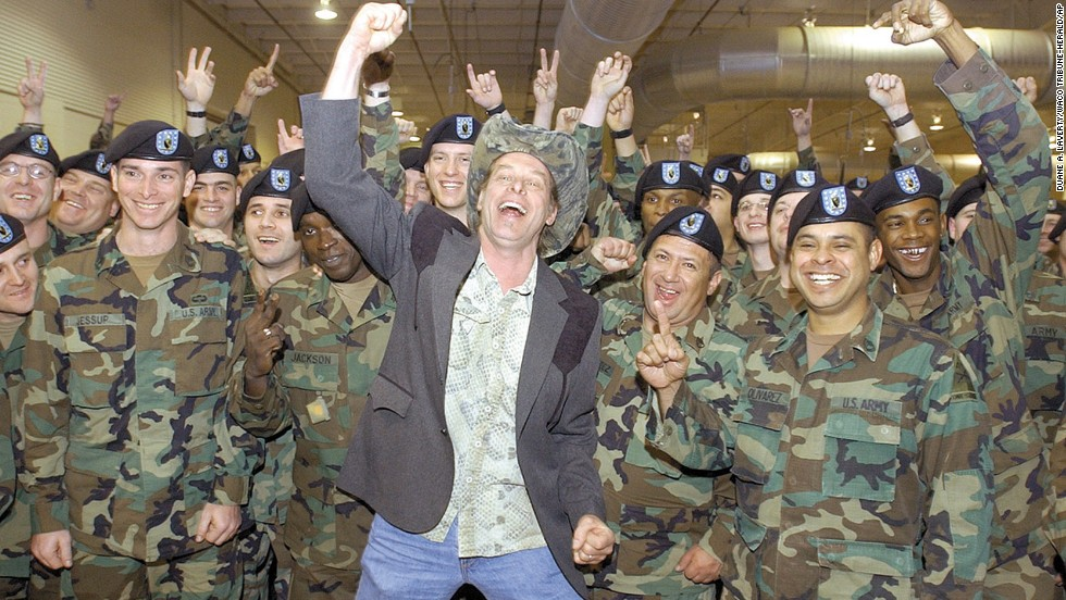 Nugent shows his support for members of the Texas National Guard at a farewell ceremony in Waco, Texas, in 2004.