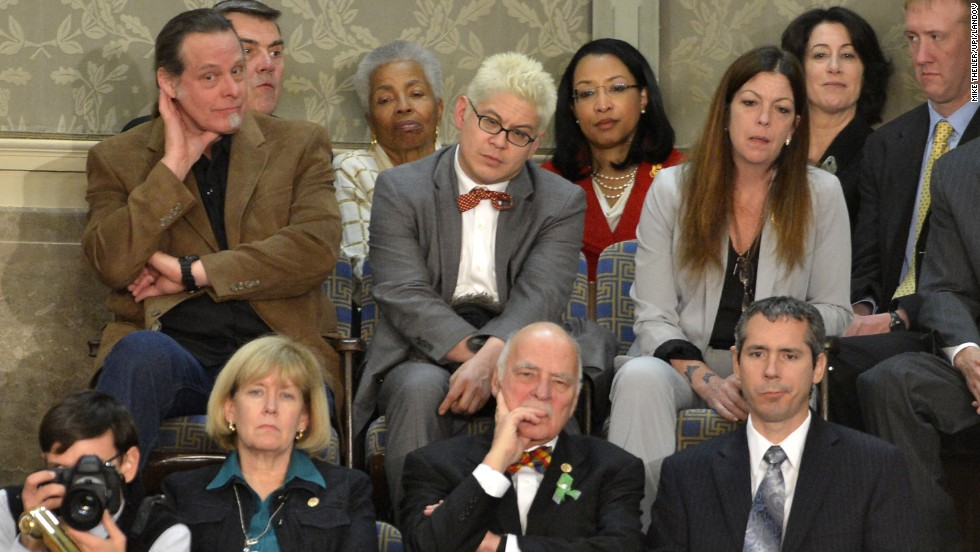 "Nugent, top left, sits in the visitor's gallery and listens to Obama deliver his State of the Union address in 2013. Nugent called the President a ""subhuman mongrel"" in a conversation with Guns.com: ""I have obviously failed to galvanize and prod, if not shame, enough Americans to be ever-vigilant not to let a Chicago communist-raised, communist-educated, communist-nurtured subhuman mongrel like the ACORN community organizer gangster Barack Hussein Obama to weasel his way into the top office of authority in the United States of America."""