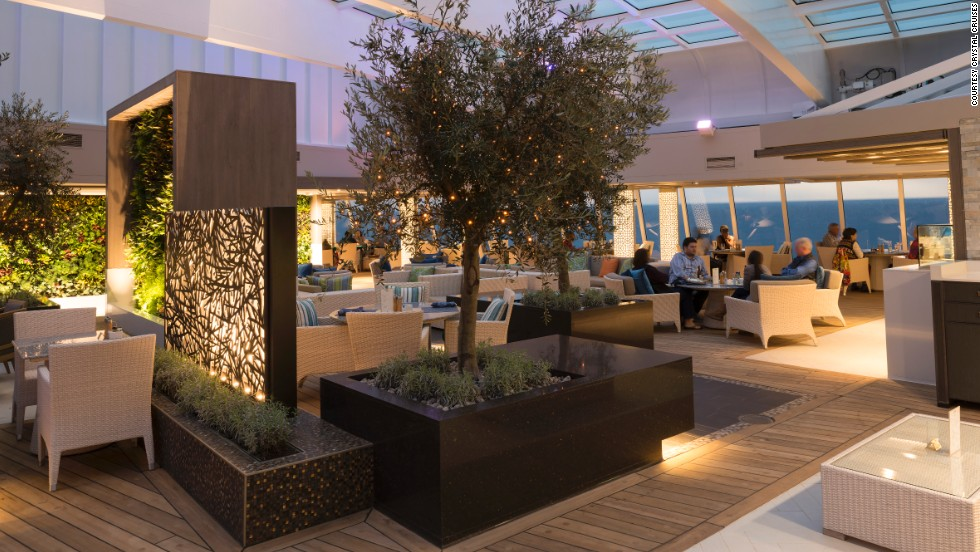 Choose to dine in the Crystal Serenity's main dining room in the traditional way, with the same waiters and fellow dinner guests, at 6:15 p.m. or 8:30 p.m. Or you can break the mold and book your own reservation.