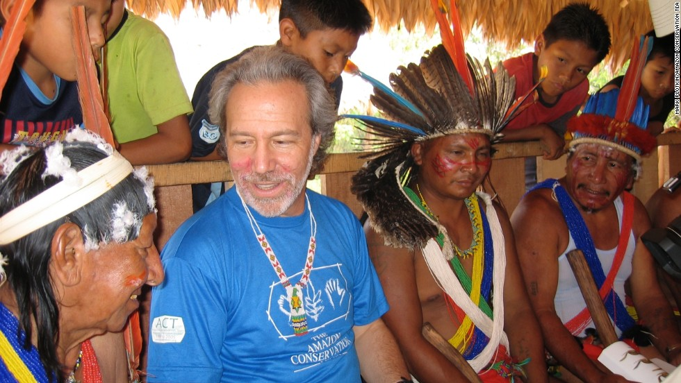 Plotkin discusses local plant and animal names with Trio shaman and apprentices in Kwamalasamutu village, southwest Suriname.