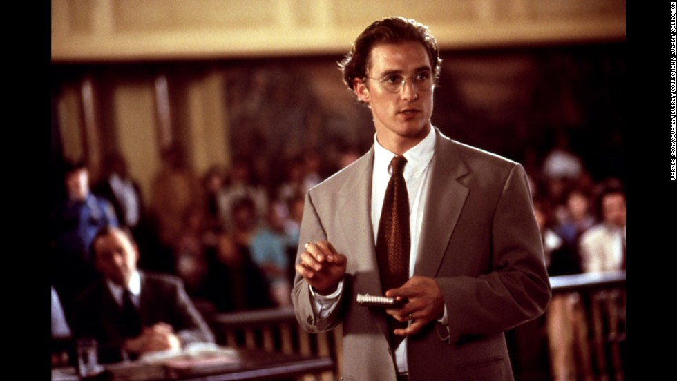 "McConaughey hits the courtroom in the 1996 film ""A Time to Kill."""