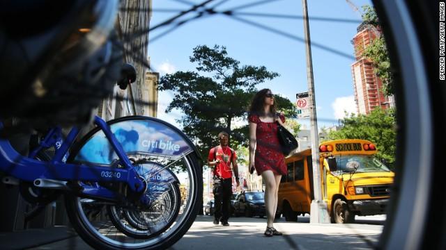 Pedestrians walk through Fort Greene, a growing cultural district of Brooklyn located close to Manhattan.