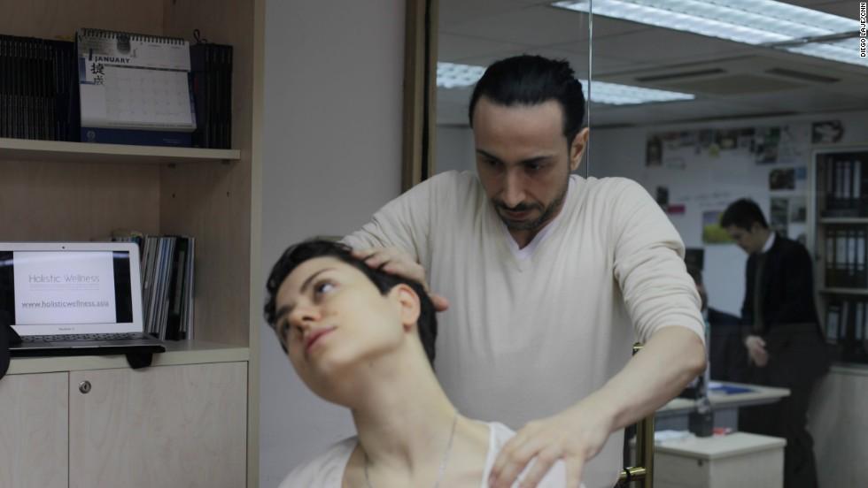 Calvaruso's corporate yoga classes often focus on desk ergonomics and releasing tension from the shoulders.
