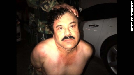 Photo: El Chapo under arrest  In a joint Mexican and US operation, Joaquin 'El Chapo' Guzman, the head of Mexico's Sinaloa drug cartel, was captured Saturday at beach resort in Mazatlan, Mexico. Guzman is considered one of the most powerful drug traffickers in the world. Guzman faces multiple federal drug trafficking indictments in the U.S.,  and is on the Drug Enforcement Administration's most-wanted list. His drug empire stretches throughout North America and reaches as far away as Europe and Australia.