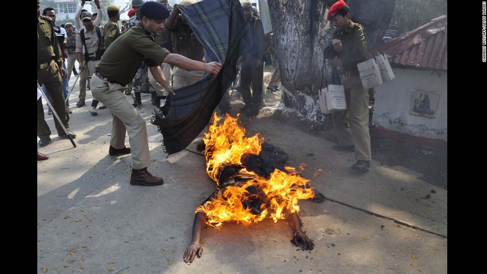 Activist Pranab Boro sets himself on fire Monday, February 24, during a protest demanding land rights for people in various regions of India's eastern Assam state. Police extinguished the flames, but Boro died after being hospitalized with burns covering more than 90% of his body.