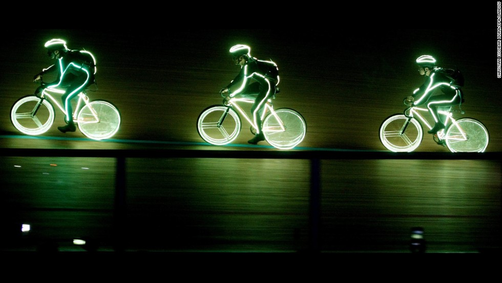 Cyclists with neon costumes participate in the opening of the Track Cycling World Championships in Cali, Colombia, on Wednesday, February 26. About 350 athletes from 35 countries will compete through March 2.