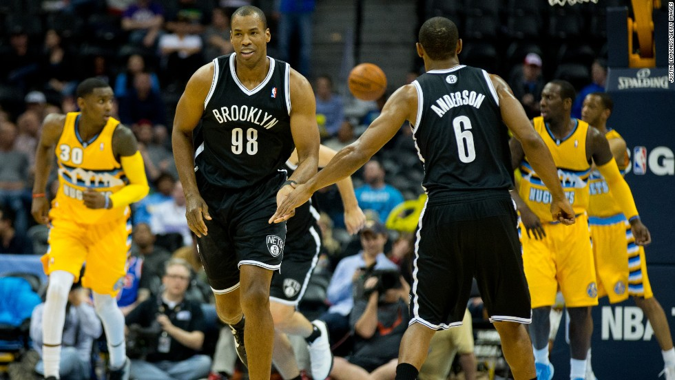 After signing a 10-day contract to play for the Brooklyn Nets, Jason Collins (wearing the No. 98 jersey) became the first openly gay player in U.S. major sport. His first game for the Nets was a 108-102 win over the Los Angeles Lakers. Collins played in another win on Thursday, as the Nets won at the Denver Nuggets.