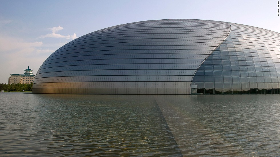 "Nicknamed ""the giant egg,"" this Beijing building contains an opera house (2,398 seats), a concert hall (2,019 seats) and two theaters (one with 1,035 seats). <strong>Architect: </strong>Paul Andreu."