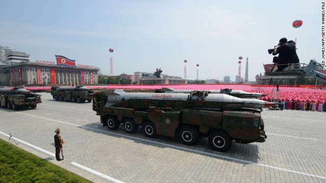 An unidentified North Korean missile is displayed during a military parade in Pyongyang on July 27, 2013.