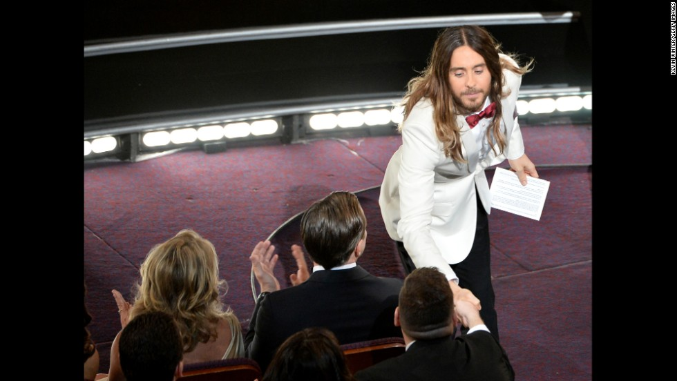 "Leto is usually more svelte and sports better hair, especially as seen here after winning best supporting actor for his role in ""Dallas Buyers Club"" at the 2014 Oscars."