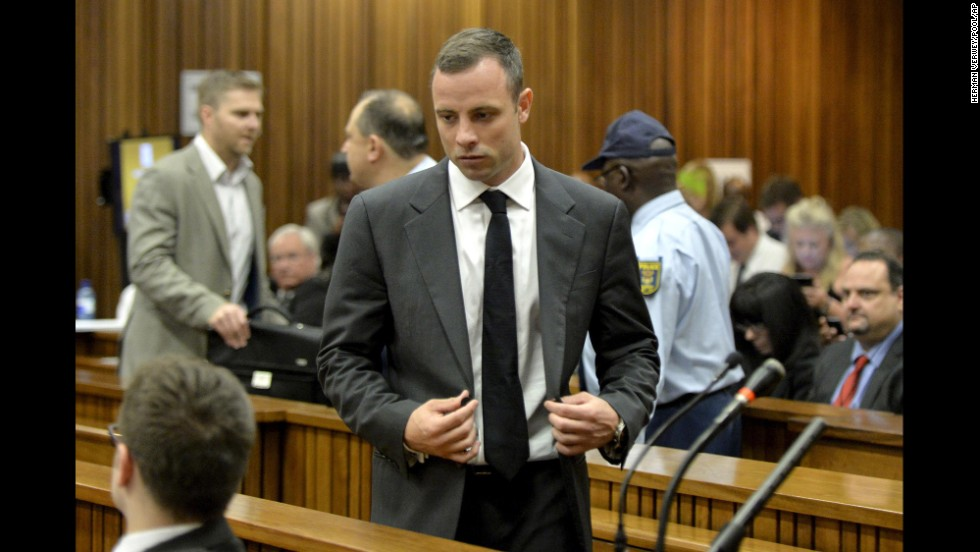 Pistorius walks into the courtroom on March 3.
