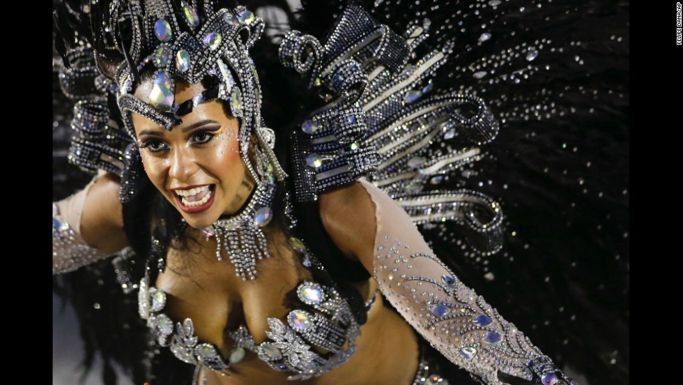 A performer is seen at a parade in Rio de Janeiro on March 3.