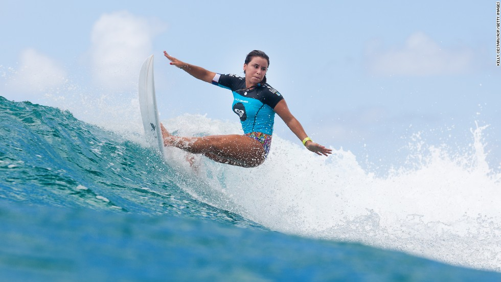 Johanna Defey rides a wave Saturday, March 1, in the Roxy Pro Gold Coast event in Gold Coast, Australia.