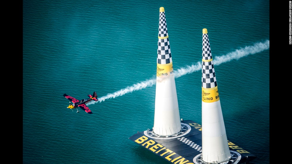 Kirby Chambliss flies during the first stage of the Red Bull Air Race World Championship on Saturday, March 1, in Abu Dhabi, United Arab Emirates.