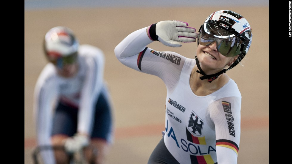 Kristina Vogel of Germany celebrates after winning a gold medal in the keirin event Sunday, March 2, at the UCI Track Cycling World Championships in Cali, Colombia.