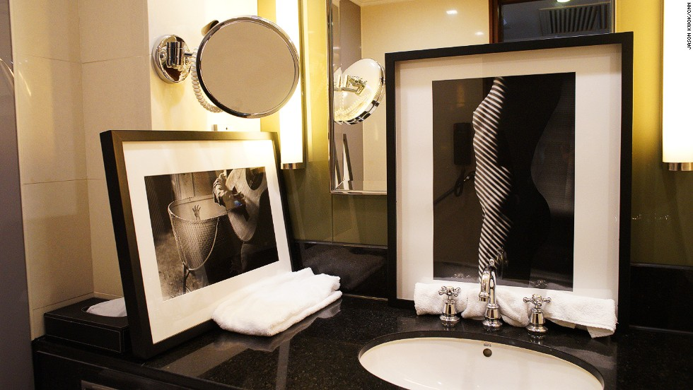 The hotel's seventh and eighth floors were used for displays. Ralph Gibson's black-and-white photographs were hung on walls, placed on a bed and propped against mirrors and bathtubs.