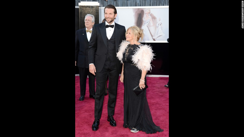 Bradley Cooper and mother Gloria Cooper arrive at the Oscars on February 24, 2013, in Hollywood, California.