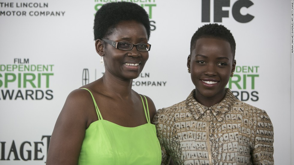 Lupita Nyong'o, right, and her mother Dorothy Nyong'o arrive at the 2014 Independent Spirit Awards on March 1, 2014, in Santa Monica, California.