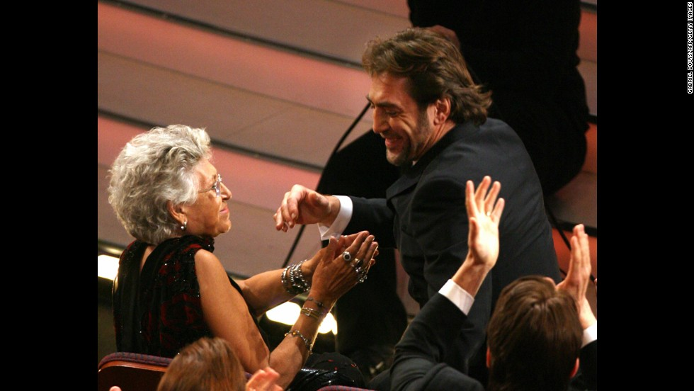 "Winner for Best Supporting Actor for ""No Country For Old Men"" Javier Bardem is congratulated by his mother, Pilar, during the 80th Annual Academy Awards in Hollywood, California, on February 24, 2008."