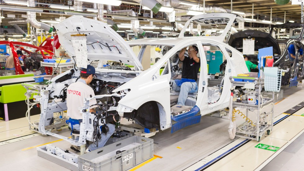 The Toyota Kaikan plant at the company's headquarters in Japan allows visitors to walk through welding and assembly areas where the world's best selling cars are made (although visitors aren't allowed to get this close).