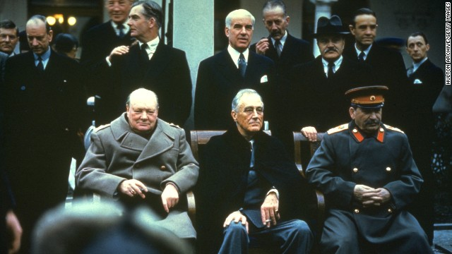 Winston Churchill, Franklin Delano Roosevelt and Joseph Stalin at the Yalta Conference, February 1945.