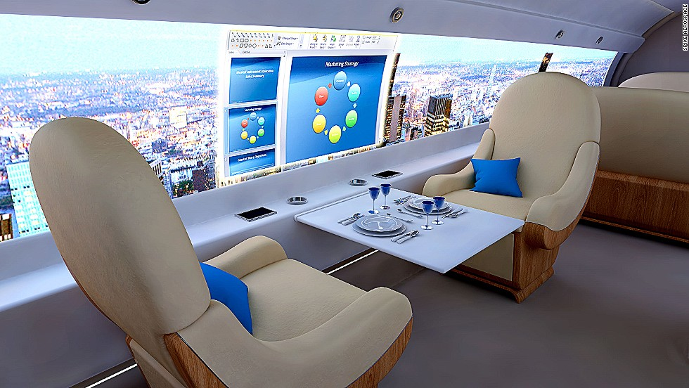 Executives could also use the embedded screens to give PowerPoint presentations while in the air.