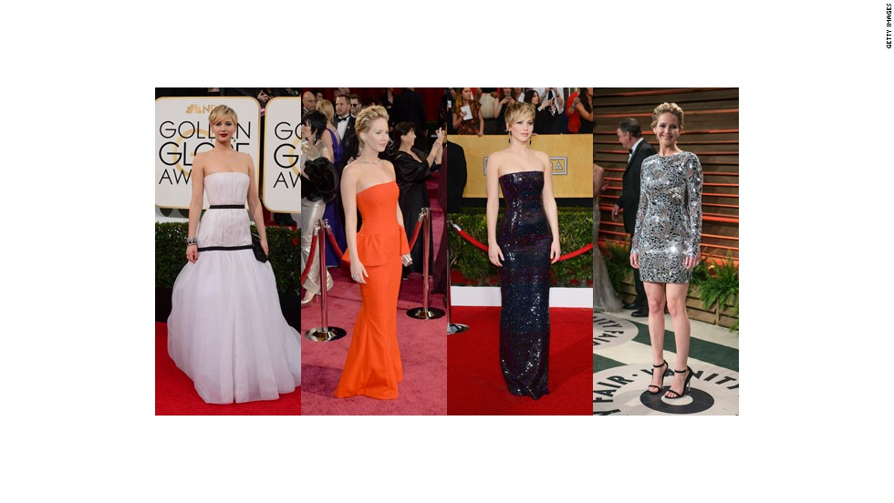 From left, Jennifer Lawrence wears Dior at the Golden Globes, Dior Haute Couture at the Oscars, Dior at the Screen Actors Guild Awards and Tom Ford at Vanity Fair's Oscars party.
