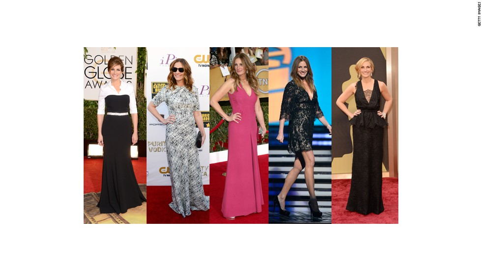 From left, Julia Roberts wears Dolce & Gabbana at the Golden Globes, Juan Carlos Obando at the Critics Choice Awards, Valentino at the Screen Actors Guild Awards, Elie Saab at the Grammy Awards and Givenchy Couture at the Oscars.