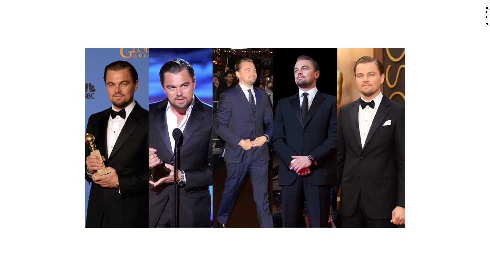 From left, Leonardo DiCaprio wears Giorgio Armani at the Golden Globes, Armani at the Critics Choice Awards, an unidentified designer at the 29th Santa Barbara International Film Festival, Armani at the BAFTAs and Armani Made to Measure at the Oscars.