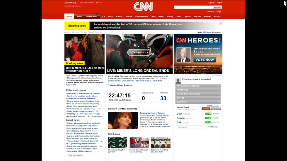 In 2010, one of CNN.com's biggest stories was the rescue of Chilean miners who were stuck underground for two months.