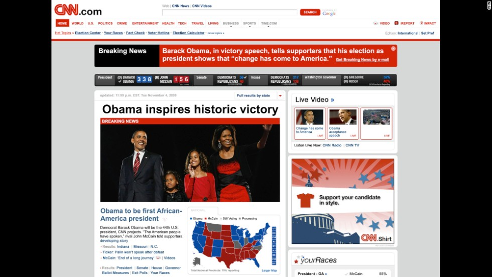 By the 2008 presidential election, CNN.com had a very different look.