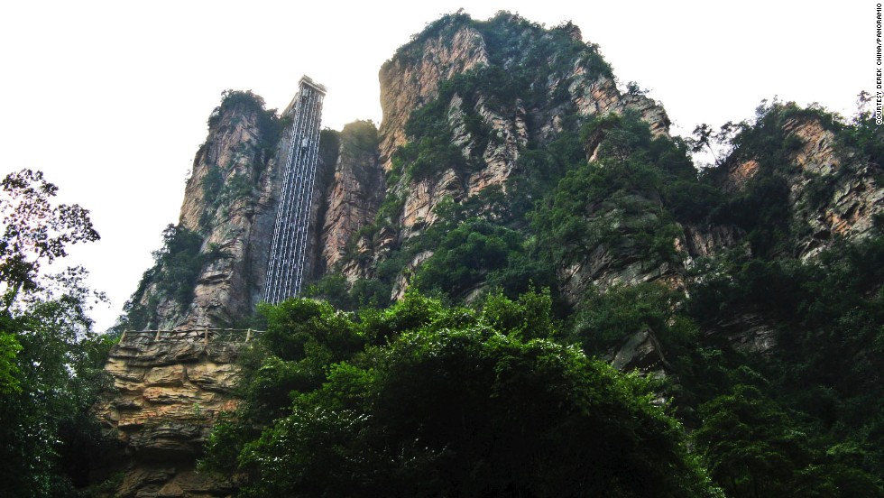 The Bailong Elevator in Hunan, China's Zhangjiajie National Forest Park travels nearly 1,070 feet up a sheer cliff.