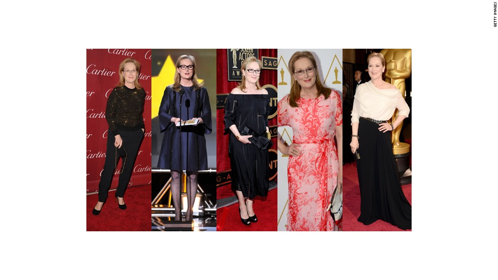 From left, Meryl Streep wears pants and a sparkling sweater at the Palm Springs Film Festival, Stella McCartney at the Critics Choice Awards, Stella McCartney at the Screen Actors Guild Awards, MaxMara at the Oscars nominees luncheon and Lanvin at the Oscars.