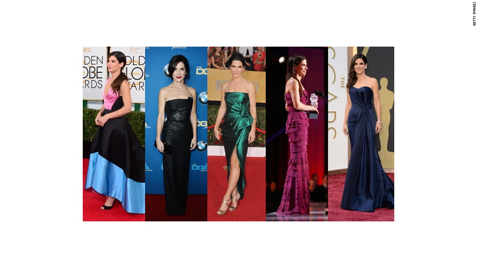 From left, Sandra Bullock wears Prabal Gurung at the Golden Globes, Roland Mouret at the Directors Guild Awards, Lanvin at the Screen Actors Guild Awards, Lanvin at the Critics Choice Awards and Alexander McQueen at the Oscars.