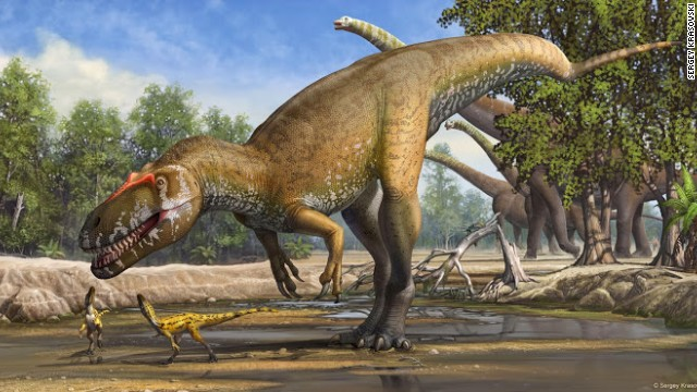 An illustration shows what Torvosaurus gurneyi, possibly the largest terrestrial predator in Europe, might have looked like.