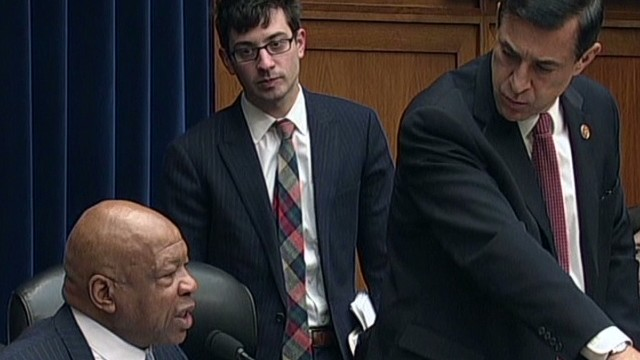 Congressmen Darrell Issa and Elijah Cummings face off during a tense House Oversight hearing Wednesday