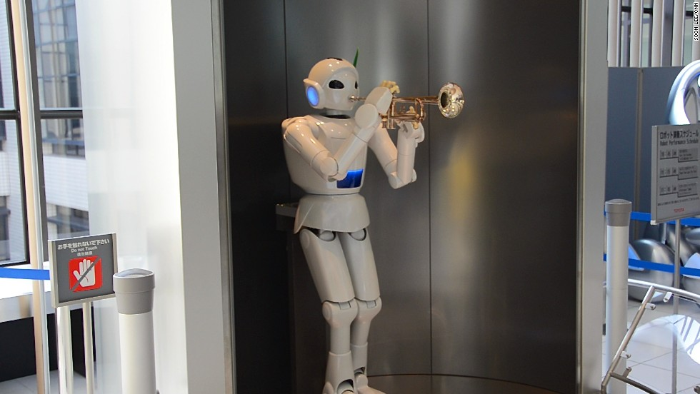 Visitors stop in their tracks at the Kaikan Museum whenever this robot starts playing the trumpet. It produces its beautiful music via piston-powered lungs and rubber lips.