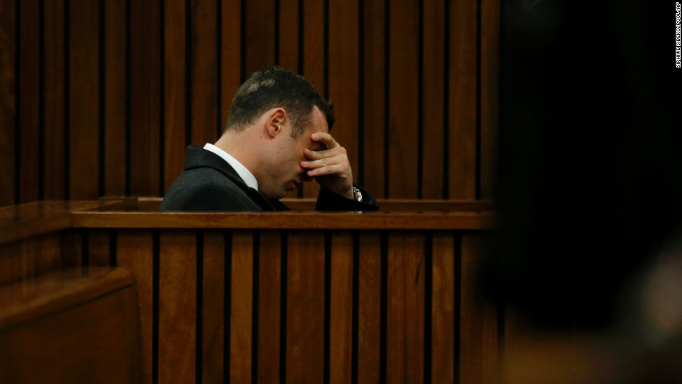Pistorius sits in court on the third day of his trial Wednesday, March 5.