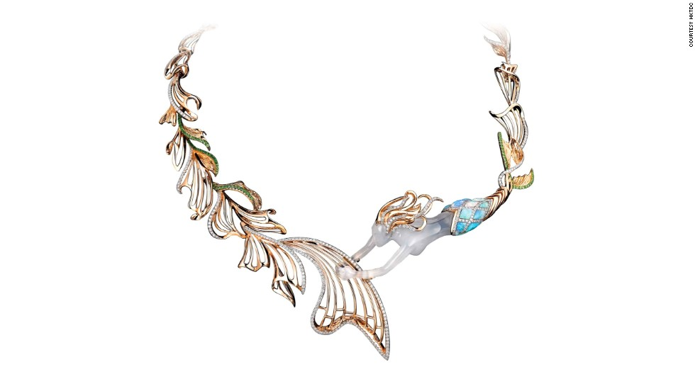 This 18K rose gold diamond necklace with opal and blue chalcedony, created by Dai Sun Jewellery's Vincent Ng, features a mermaid playing music with her tail.