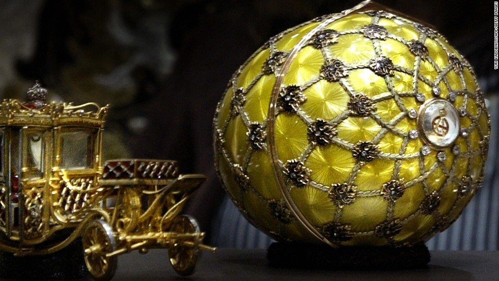 Of the 42 surviving Imperial Faberge eggs, 20 belong to Russians. Queen Elizabeth II owns three. The lavish jeweled Easter eggs were commissioned from Faberge by Tsar Alexander III in 1885 as Easter gifts for his wife, the Tsarina Maria Feodorovna.
