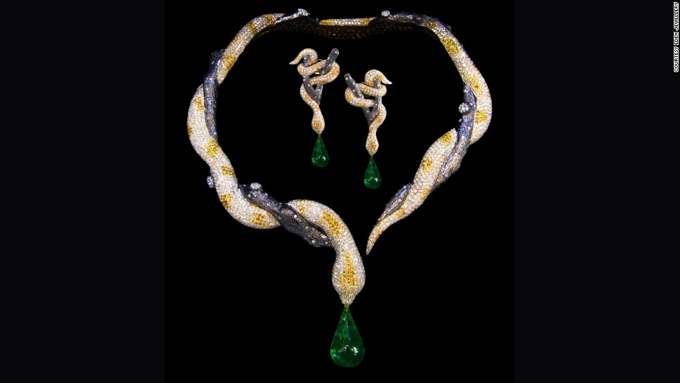 "<a href=""http://www.edenjeweler.com/"" target=""_blank"">Eden Jewellery</a> specializes in animal forms of fine jewelry. This snake necklace is made from a 10-carat emerald, two 0.42-carat rubies and 2,522 diamonds totaling 46.41 carats."