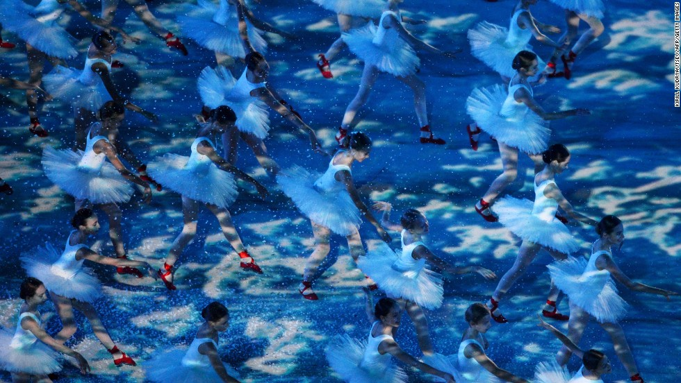Young dancers perform during the ceremony.